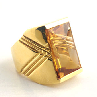 Citrine Set in an 18 Karat Gold Ring