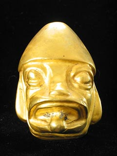 Moche Gold Hollow-Core Head of a Man