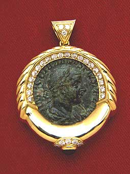 Diamond Studded Gold Pendant Featuring a Roman Bronze Coin of Emperor Gordian III