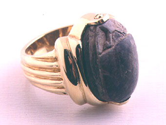 Egyptian Scarab in a Gold Ring