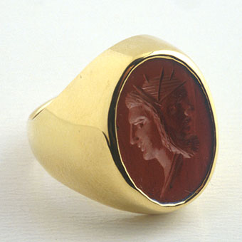 Classical Revival Red Jasper Intaglio depicting Athena and Zeus