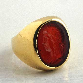 Gold Ring Featuring a Roman Carnelian Intaglio Depicting an Emperor