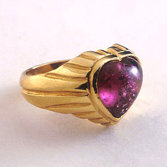 Pink Tourmaline Heart-Shaped Ring