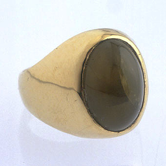 Green Tourmaline Cat's Eye Ring