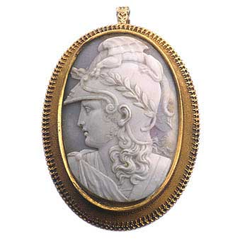 Gold Pendant Featuring a Shell Cameo Depicting Athena