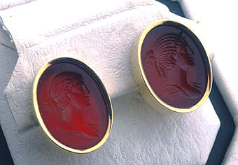 Two Carnelian Intaglios Each Depicting a  Portrait of a Woman