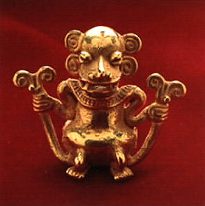 Gold Bell Pendant of a Monkey