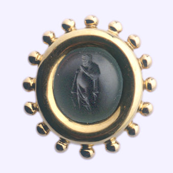 Gold Pin Featuring a Classical Revival Glass Intaglio of a Greek or Roman Philosopher and a Dog
