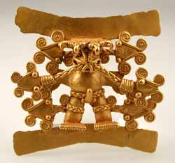 Gold Pendant of a Shaman Surrounded by Serpent Heads