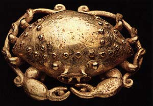 Gold Pendant of a Crab