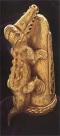 Sinu Gold Knob of a Ceremonial Staff Featuring a Crocodile