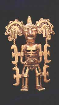 Sinu Gold Pendant of a Man Dressed in a Ceremonial Costume