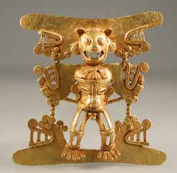 Diquis Gold Pendant of a Jaguar Deity