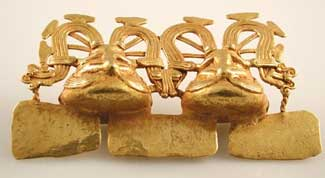 Diquis Gold Pendant Featuring Two Frogs on the Backs of Two Larger Frogs
