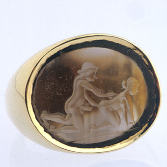 Brown Quartz Intaglio Depicting an Erotic Scene