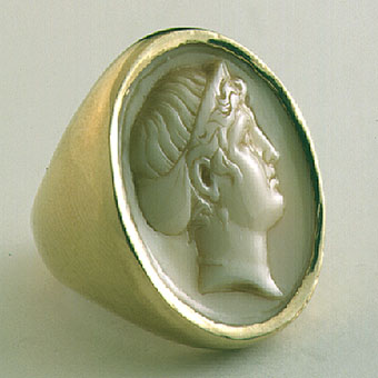 Gold Ring with Ivory Cameo of Arethusa