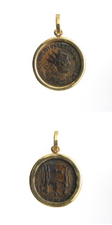 Gold Pendant with Bronze Coin of Emperor Diocletian