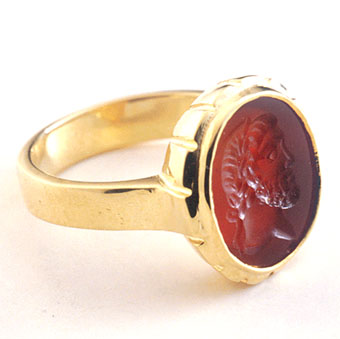 Gold Ring Featuring a Roman Carnelian Intaglio of an Emperor