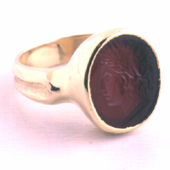 Gold Ring Roman Intaglio of a Bust of Arethusa or Apollo