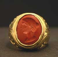 Roman Jasper Intaglio of the Bust of a Woman