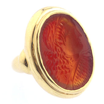 Gold Ring Featuring a Classical Revival Carnelian Intaglio Depicting Emperor Valentinian I