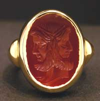 Carnelian Intaglio Depicting a Janus Head