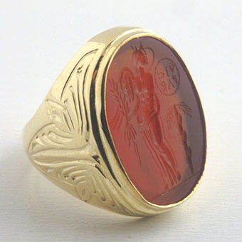 Gold Ring Featuring a Classical Revival  Carnelian Intaglio of Victory