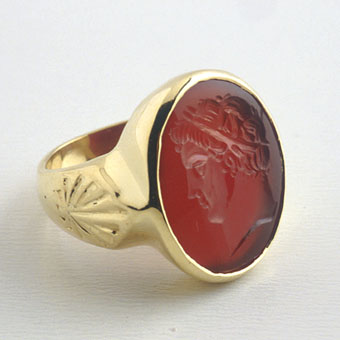 Carnelian Intaglio with a Head of an Emperor