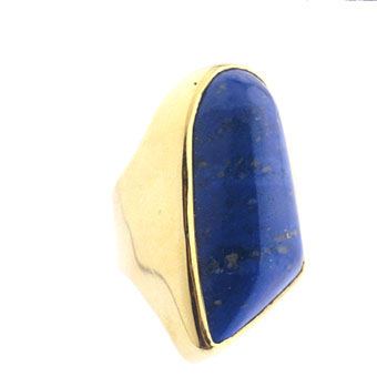 Gold Ring Featuring an Afghani Lapis Lazuli Stone