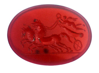 Classical Revival Carnelian Intaglio of a Biga