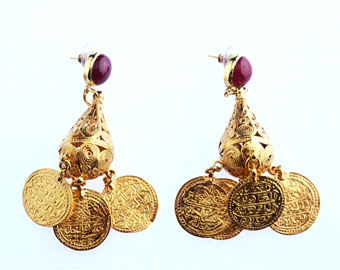 Gold Earrings Featuring Ottoman Gold Coins and Two Cabochon Rubies