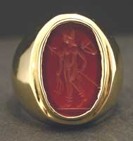 Roman Carnelian Intaglio Depicting a Warrior