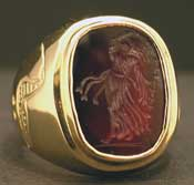 Gold Ring Featuring a Classical Revival Carnelian Seal Depicting a Muse
