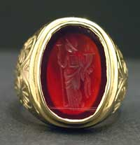 Gold Ring Featuring a Roman Carnelian Intaglio of Fortuna