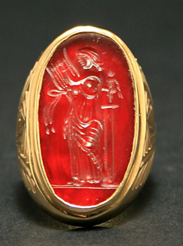Gold Ring Featuring a Classical Revival Carnelian Intaglio Depicting the Muse Erato
