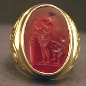 18 Karat Gold Ring Featuring a Classical Revival Seal of the Goddess Aphrodite and Eros
