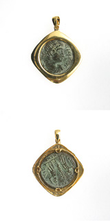 Gold Pendant with Bronze Coin of Constantine the Great