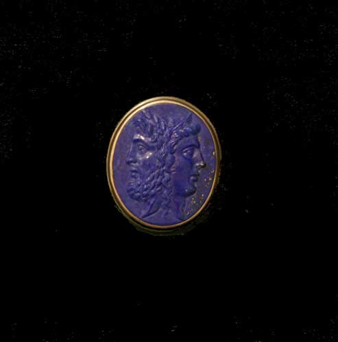 Classical revival Lapis Lazuli Cameo, mounted in a silver and 18 Karat Gold Ring
