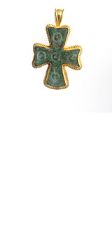 Gold Pendant Featuring a Byzantine Bronze Cross