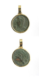 Gold Pendant with Bronze Coin of Emperor Constantius II