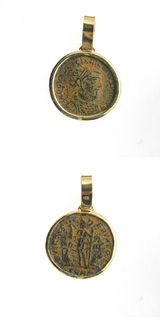 Gold Pendant with Bronze Coin of Emperor Licinius I
