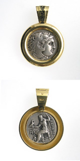 Gold Pendant with Silver Drachm of Alexander the Great