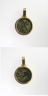 Gold Pendant with Bronze Coin Minted Under Pontius Pilate