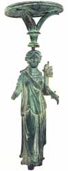 Roman Bronze Lamp Stand Depicting the Goddess Fortuna