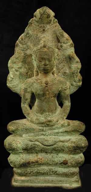 Khmer Bronze Seated Buddha Meditating on Naga