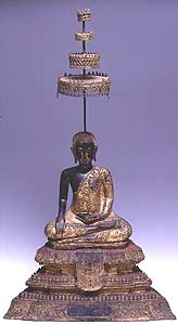 Rattanakosin Bronze Sculpture of a Seated Buddha Forming the Bhumisparsa Mudra