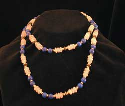 Quartz, Hematite, Lapis Lazuli Bead Necklace With 14 Karat Gold Beads And A 14 Karat Gold Clasp