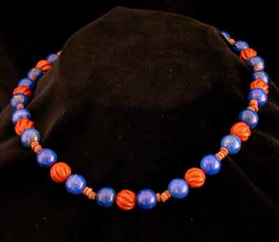 Lapis Lazuli, Jasper, & Faience Bead Necklace with a 14-Karat Gold Clasp