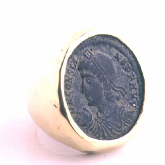 Gold Ring Featuring a Bronze Coin of Roman Emperor Constans