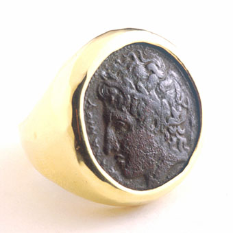 Ring with a Bronze Coin of the City of Syracuse